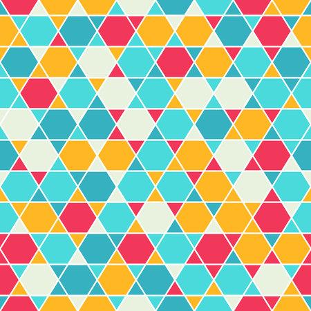 magen: Seamless pattern with traditional oriental tangled six-rays star symbol. Jewish star Magendavid - Star of David. illustration. Colorfur patterned geometric background.