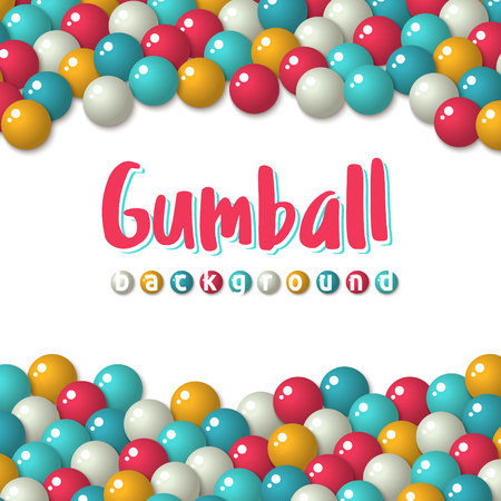 gumballs: Greeting card template - Colorful pattern with a lot of gumballs, mixed colors. birthday background. Bright game background with glossy balls.
