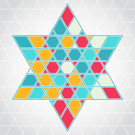 jewish star: Traditional oriental tangled six-rays star symbol. Jewish star Magendavid - Star of David. illustration. Colorfur patterned geometric background. Illustration