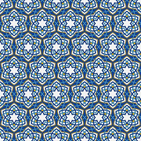 花唐草模様。アラビア語のジオメトリのスタイルで花を絡んだ。シームレス パターンの幾何学的な花を。オリエンタル アラベスク風に抽象花模様。  イラスト・ベクター素材