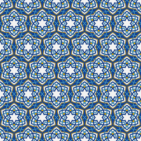 Arabesque floral pattern. Entwined flowers in arabic geometry style. Geometric flowers in seamless vector pattern. Pattern with abstract flowers in oriental arabesque style. Seamless vector background Illustration