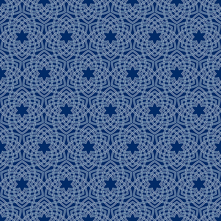 entwined: Arabesque floral pattern. Entwined flowers in arabic geometry style. Geometric flowers in seamless vector pattern. Pattern with abstract flowers in oriental arabesque style. Seamless vector background Illustration