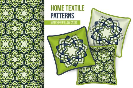 room accents: Pattern and Set of 3 matching decorative throw pillows with this pattern applied. Abstract green flowers. Vector illustration.