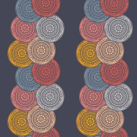 Seamless fond abstrait avec des cercles à motifs colorés sur fond bleu marine. mandalas de motifs tribaux. Vector illustration.