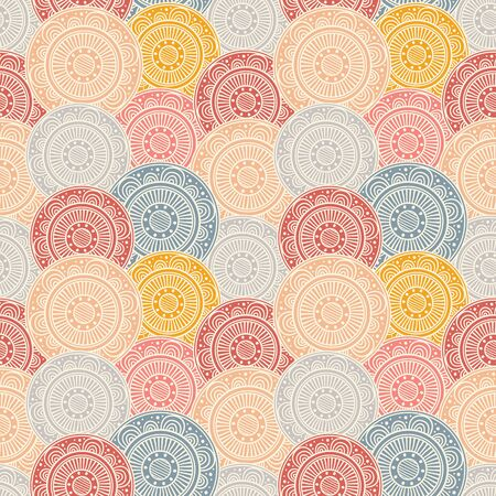 navy blue background: Seamless abstract background with colorful patterned circles on navy blue background. Tribal pattern mandalas. Vector illustration. Illustration