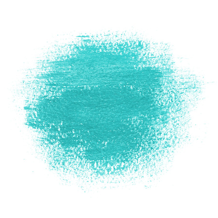 Round paint spot, drawn with brush stroke. Bright turquoise blue color. Painting background with watercolor paper texture. Grunge edges.