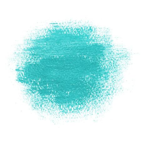 Mancha de pintura redonda, dibujada con trazo de pincel. Color azul turquesa brillante. Fondo de pintura con textura de papel de acuarela. Bordes grunge. Foto de archivo