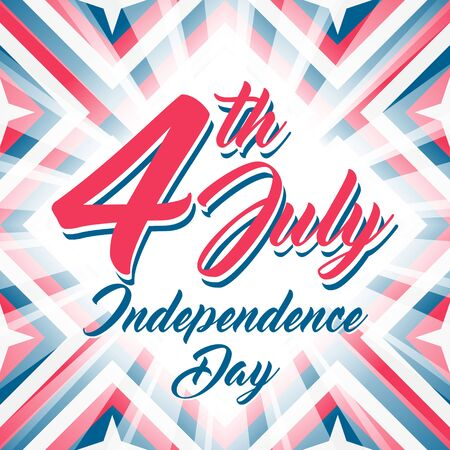 4th july: American Independence day 4 th july. Vector illustration. Abstract red-blue-white geometric background with stars and light rays. Lettering 4th July, Independence Day. Illustration