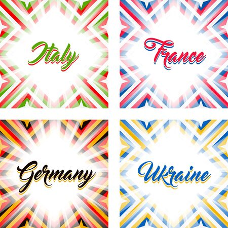 Abstract geometric backgrounds in national colors - Italy, France, Germany, Ukraine. Set of four vector backgrounds. Illustration