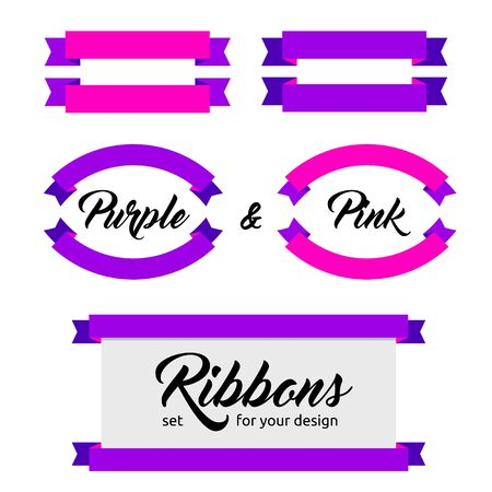 group icon: Design elements - Set of flat ribbons and banners. Different shapes. Vector illustration. Flat style. Ribbons isolated on white. Pink and purple web banners.