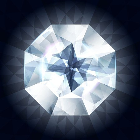ring ruby: Realistic diamond in top view on shiny dark background. Vector illustration. Blue gem stone.
