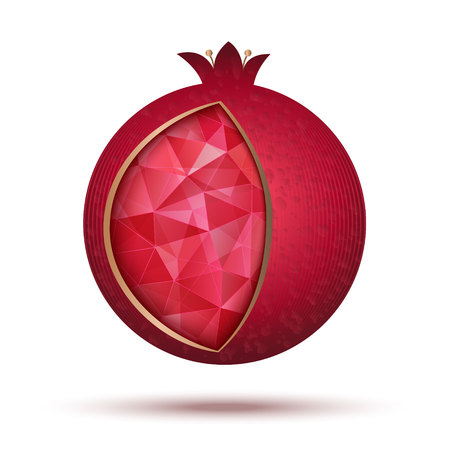 hebrew letters: Ripe red pomegranate, vector illustration. Pomegranate icon as a jewish symbol of sweet life.