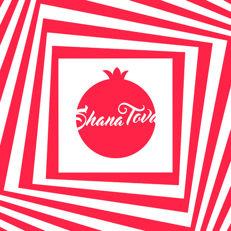 shana tova: Rosh hashana greeting card - Jewish New Year vector illustration. Abstract geometric pattern and pomegranate icon. Greeting text Shana tova on Hebrew - Have a good year. Abstract geometric background. Illustration