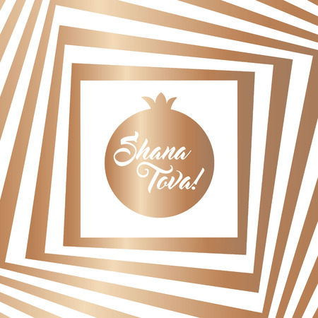 shana: Rosh hashana greeting card - Jewish New Year vector illustration. Abstract geometric pattern and pomegranate icon. Greeting text Shana tova on Hebrew - Have a good year. Abstract geometric background. Illustration