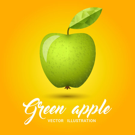 granny smith apple: Realistic green apple on bright yellow background - vector illustration. Big green apple with bright green leaf. Granny smith apple on simple yellow background.