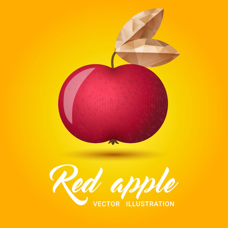 golden apple: Realistic red apple on bright yellow background - vector illustration. Big red apple with bright golden leaf.