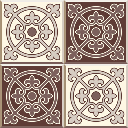 edwardian: Set of four Floor tiles - seamless vintage pattern with cement tiles. Seamless vector background. Vector illustration. Retro colors - white and brown. Set of four edwardian tiles. Illustration