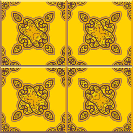 edwardian: Floor tiles - seamless vintage pattern with cement tiles. Seamless vector background. Vector illustration. Retro colors - yellow and brown. Set of four tiles.