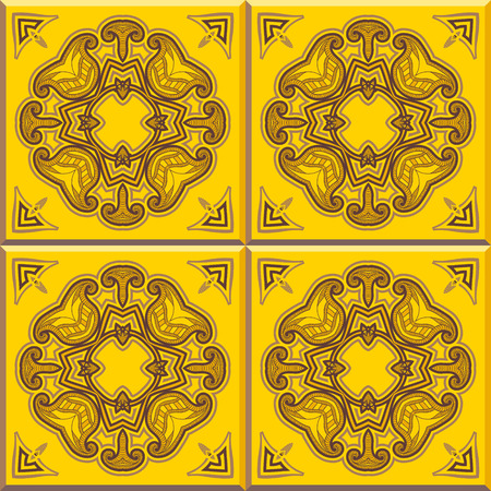 wall decor: Floor tiles - seamless vintage pattern with cement tiles. Seamless vector background. Vector illustration. Retro colors - yellow and brown. Set of four tiles.