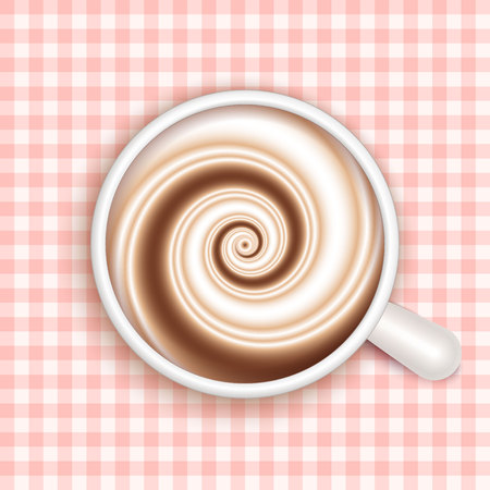 Top view of white coffee cup on red gingham patterned cloth. Cappuccino full cup, hot chocolate, coffee and cream, high milk foam. Coffee cup top view, vector illustration.