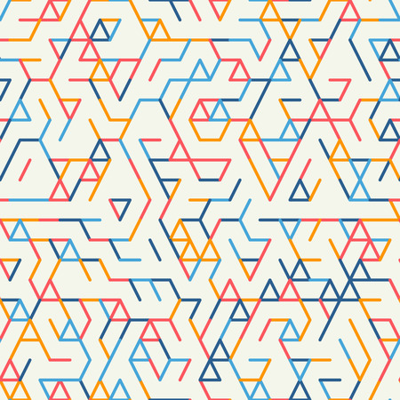tessellation structure: Abstract geometric background. Abstract technology pattern with colorful geometric shapes in tessellation. Linear abstract lattice, random coloring.