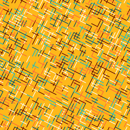 Abstract geometric background. Abstract technology pattern with colorful geometric shapes in tessellation. Linear abstract lattice, bright random colors. Illustration