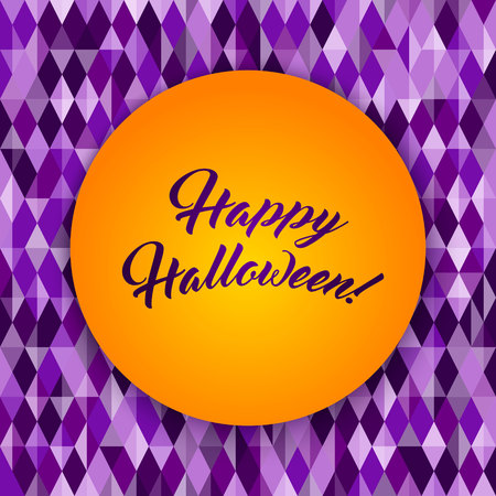 Happy Halloween greeting card, Abstract geometric pattern, diamond shapes. Traditional colors for Halloween background, yellow, orange, purple.