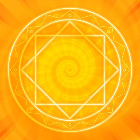 Glowing magic circle. Sacred geometry, vector illustration. Glowing neon lines. Abstract geometric background. Strange magic mandala.