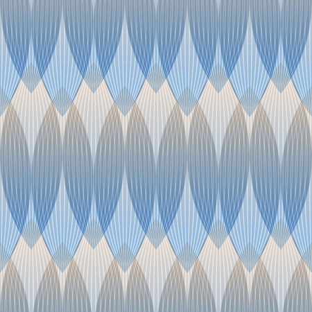 intertwined: Abstract blue background, geometric shapes with many thin lines. Seamless vector pattern.