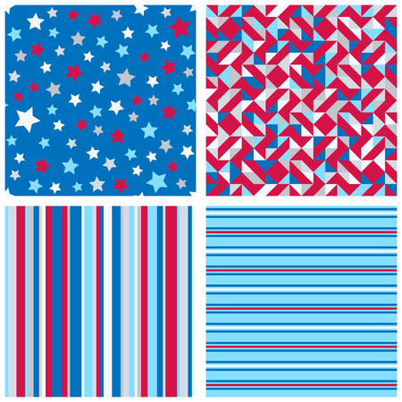 Set of four abstract geometric backgrounds in red, blue, white colors. Vector seamless patterns.