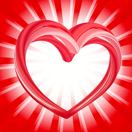 Valentines Day background, abstract pink heart shape on bright red and white rays background. Vector illustration.