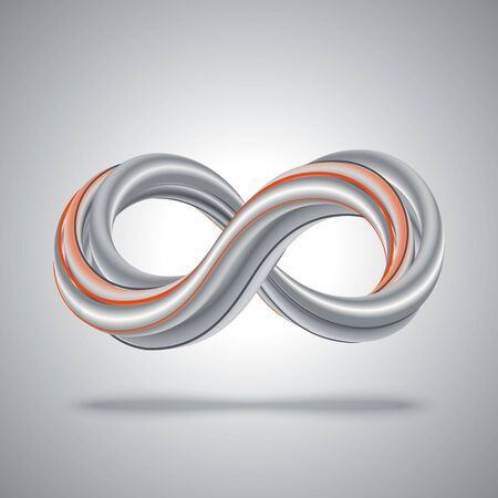 Dark gray 3d infinity symbol with orange line on gray background. Vector illustration. Abstract math background.