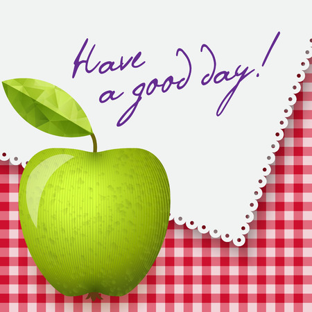granny smith apple: Gingham tablecloth background, white napkin with words - Have a good day. Vector illustration. Morning breakfast background. Green apple.