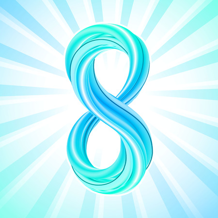 Colorful number eight icon, 3d effect, on bright abstract background with rays of light in blue. Vector illustration. Digit 8 symbol. March 8, International womens day greeting card. Illustration