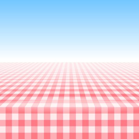Table de pique-nique vide, recouverte d'une nappe à carreaux en vichy.
