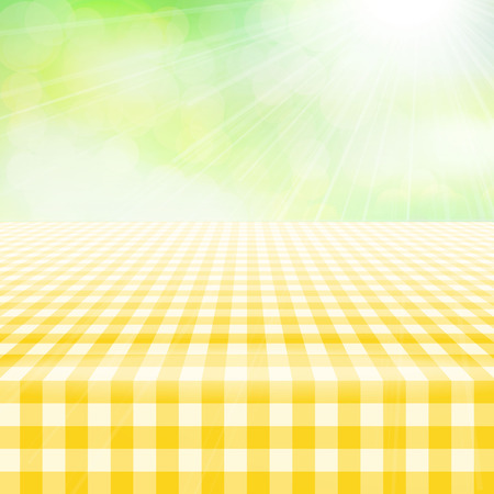 Empty picnic table, covered with checkered gingham tablecloth. Blurred green background. Summer picnic background for product presentation Vector illustration. Yellow gingham pattern,