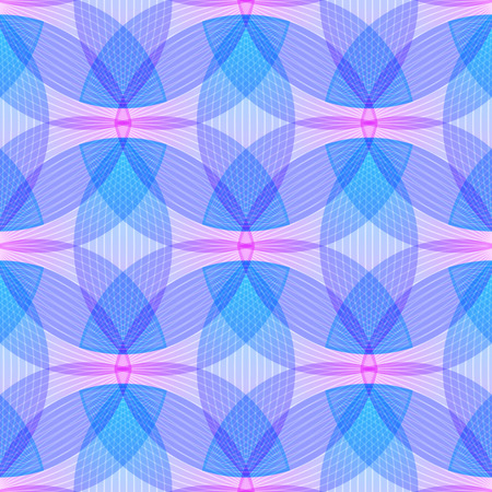 endlos: Abstract pink and blue background, geometric shapes with many thin lines. Seamless vector pattern. Lotus petals pattern. Vector illustration. Illustration