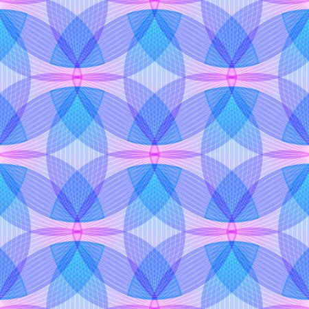 Fondo rosado y azul abstracto, formas geométricas con muchas líneas finas. Patrón de vector transparente. Patrón de pétalos de loto. Ilustración del vector.