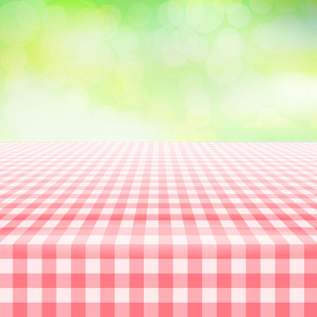 Empty picnic table, covered with checkered gingham tablecloth. Blurred green background. Summer picnic background for product presentation Vector illustration. Red gingham pattern,