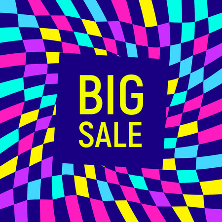 Abstract Big sale banner, geometric background, different geometric shapes - triangles, circle. Memphis style. Bright and colorful neon colors, funky 90s style. Vector illustration. Big sale lettering Illustration