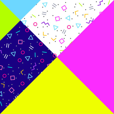 radiant: Abstract geometric background, different geometric shapes - triangles, circles, dots, lines. Memphis style. Bright and colorful neon colors, funky 90s style. Vector illustration. Illustration