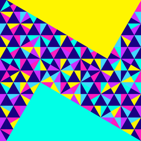 Abstract geometric background, different geometric shapes - triangles, circles, dots, lines. Memphis style. Bright and colorful neon colors, funky 90s style. Vector illustration. Vettoriali