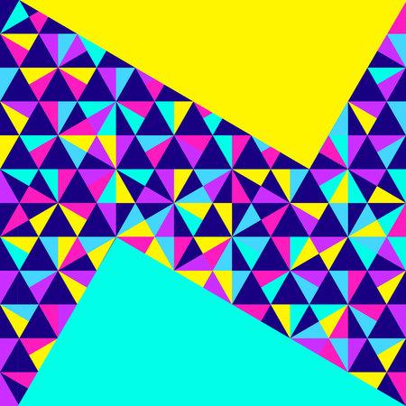 Fondo geométrico abstracto, diferentes formas geométricas - triángulos, círculos, puntos, líneas. estilo de Memphis. colores de neón brillantes y coloridos, estilo años 90 funky. Ilustración del vector.