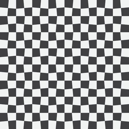 Unequal checks, abstract checkered background. Vector illustration. Background with black and white checkered racing flag. Seamless vector pattern. Opt Art. Stock Illustratie