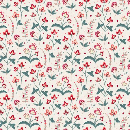 Floral seamless pattern, Jacobean style flowers. Colorful herbal background. Vector illustration.