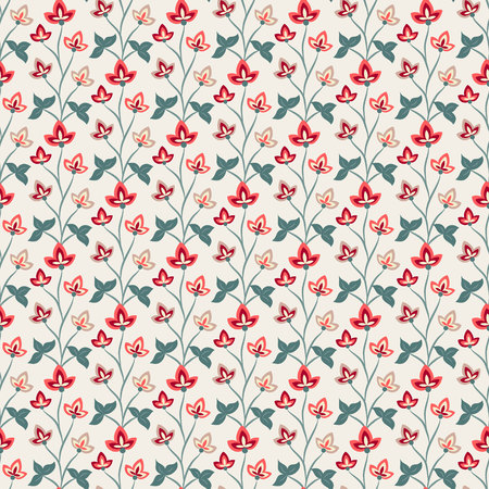 Floral seamless pattern, Jacobean style flowers. Colorful herbal background. Vector illustration. Jacobean floral, herbal collection. Illustration