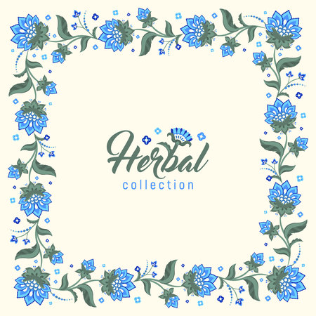 midsummer: Floral round frame, Jacobean style flowers. Colorful herbal wreath. Vector illustration. Herbal collection, blue flowers Illustration