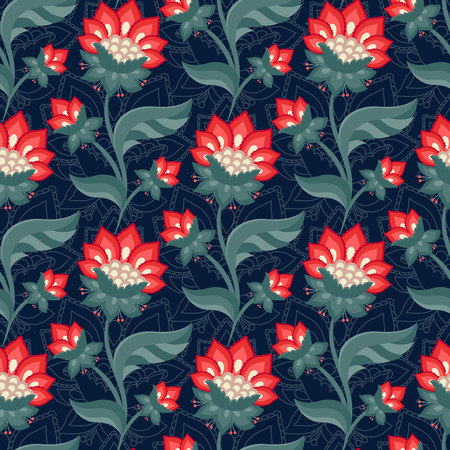 Floral seamless pattern, Jacobean style flowers. Colorful herbal background. Vector illustration. Jacobean floral, herbal collection, red flowers. Dark blue summer night background.