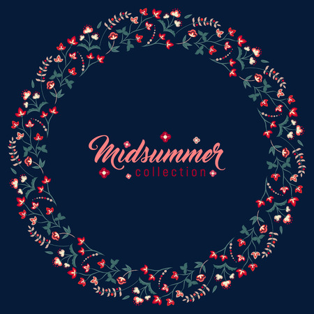 midsummer: Midsummer floral vintage frame, Jacobean embroidery style flowers. Colorful herbal wreath on dark. Vector illustration. Herbal collection, red meadow flowers. Dark blue summer night background