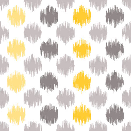 based: Seamless geometric pattern, based on ikat fabric style. Vector illustration. Carpet rug texture vector imitation. Yellow and grey spots pattern. Illustration
